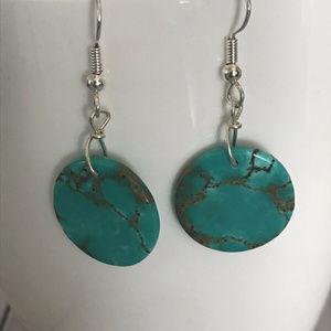 Blue Circle Dangle Earrings